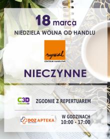 NIEDZIELA WOLNA OD HANDLU 18 marca 2018